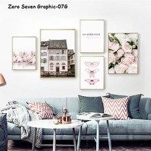 Cartel de lienzo de flamenco y mariposa de peonía Rosa decoración nórdica e imágenes artísticas de pared para decoración de salón y sala de estar
