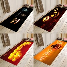 Halloween holiday scene flannel home mat, flannel mat Anti-Slip absorbent mat,Kitchen absorbent floor mat plate floor pad plate type flower type printing anti slip absorbent flannel home floor pad