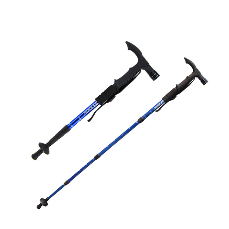 Manufacturers Supply Of Goods Curved Handle Four Sections Alpenstock With Five Lamp Folding Retractable Elderly Stick Color Mixt