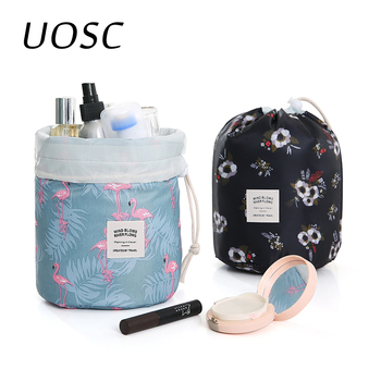 UOSC Women Lazy Drawstring Cosmetic Bag Round Travel Makeup Bag Organizer Make Up Case Storage Pouch Toiletry Beauty Kit Neceser