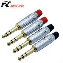 10 sztuk/partia 6.35mm Jack 3 polak Stereo wtyk męski drut lutowniczy złącze pozłacane 1/4 Cal wtyczka mikrofonu 5 par czerwony + czarny