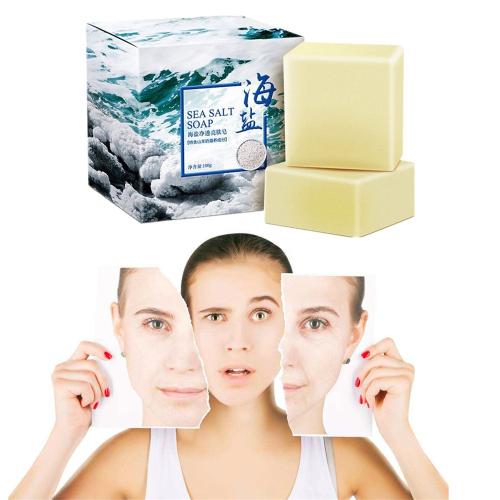 Professional De-mite Sea Salt Hand-whitening Soap, Hyaluronic Acid Moisturizing Gloss Hand-made Soap Deep Cleaning Pore