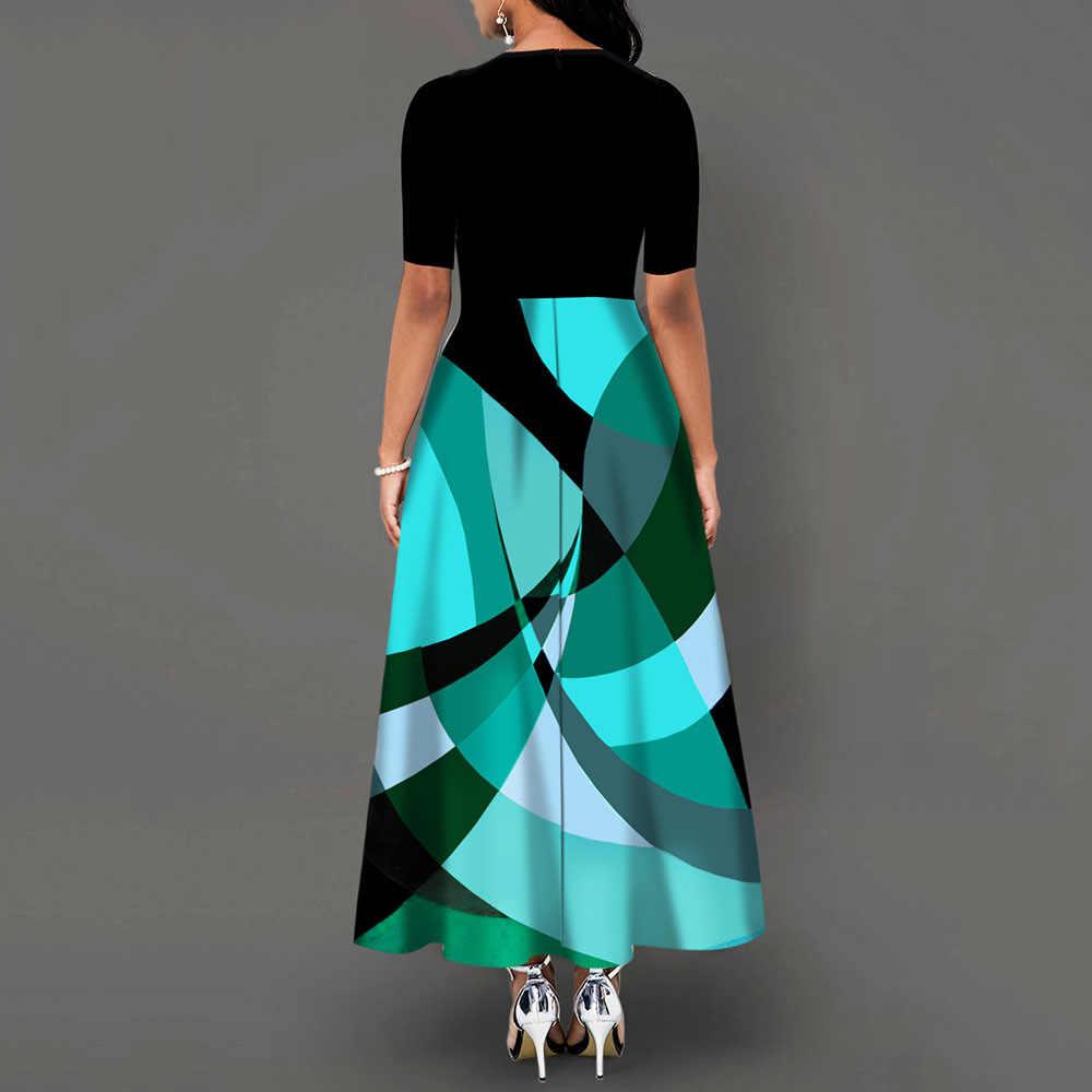 Demi manches col rond nœud papillon Vintage une ligne impression femmes Maxi robe Standard-taille robe 2019 automne robe