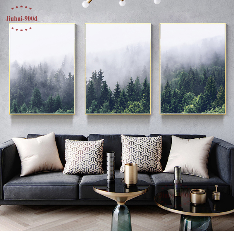 Nordique forêt paysage affiche toile peinture affiche et imprime photos murales pour salon moderne décoration de la maison Art mural