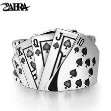 ZABRA โป๊กเกอร์แหวนเงิน 925 ROCK Punk แหวนผู้ชายผู้หญิงสีดำ Signet เครื่องประดับปรับขนาด 7 ถึง 10 สามารถปรับแต่งขนาด