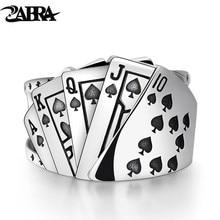 ZABRA פוקר טבעת מוצק 925 כסף רוק פאנק טבעות לגברים נשים שחור חותם תכשיטי מתכוונן גודל 7 כדי 10 יכול Cutomize גודל