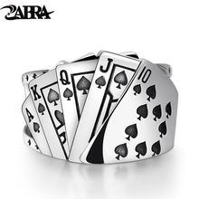 Zabra покерное кольцо Твердые 925 серебро рок панк кольца для