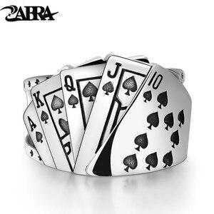 Image 1 - Zabra poker anel sólido 925 prata rock punk anéis para homens feminino preto signet jóias tamanho ajustável 7 a 10 pode cutomize tamanho