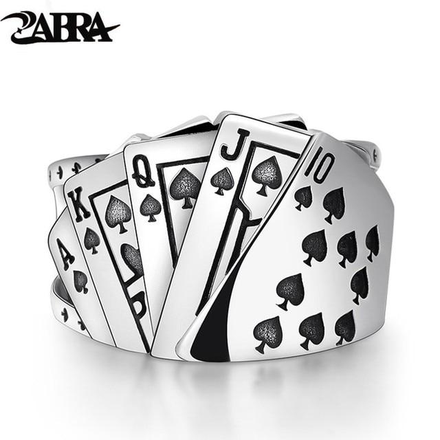 Zabra poker anel sólido 925 prata rock punk anéis para homens feminino preto signet jóias tamanho ajustável 7 a 10 pode cutomize tamanho