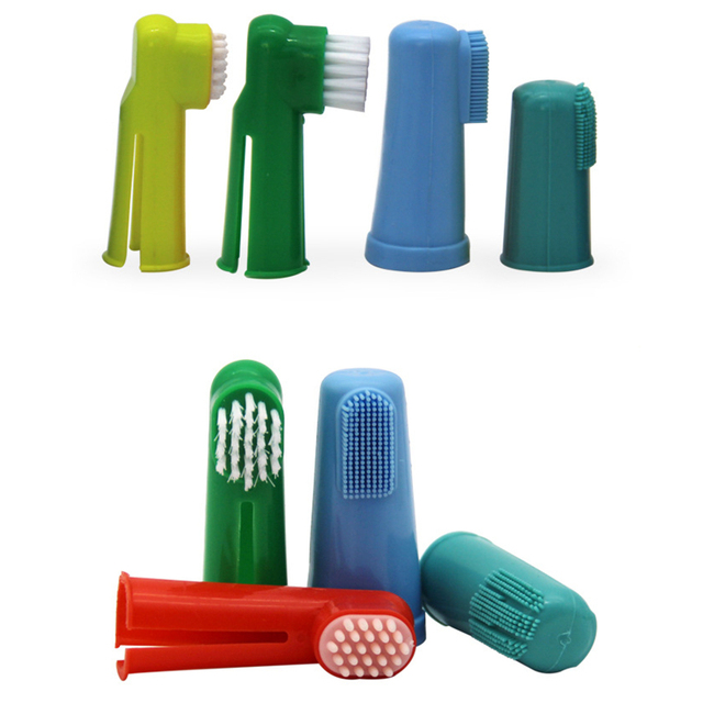 Super Soft  Multi- Colored Pet Finger Toothbrush For Cats & Dogs  3