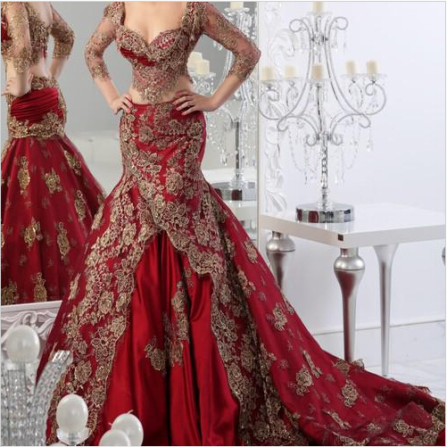 2015 Long Formal Two Pieces Evening Dresses Arabic Burgundy Red Wine With Gold Lace Applique V Neck Vestidos Mermaid Custom