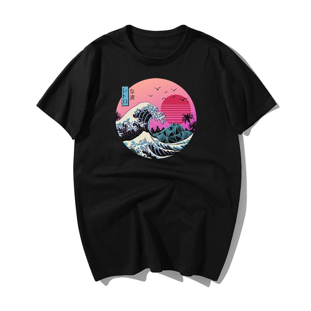 The Great Retro Wave Japan Anime   T  -  shirt   Harajuku Streetwear Cotton Camisetas Hombre Men Vaporwave Funny Cool Hip Hop   T     Shirt