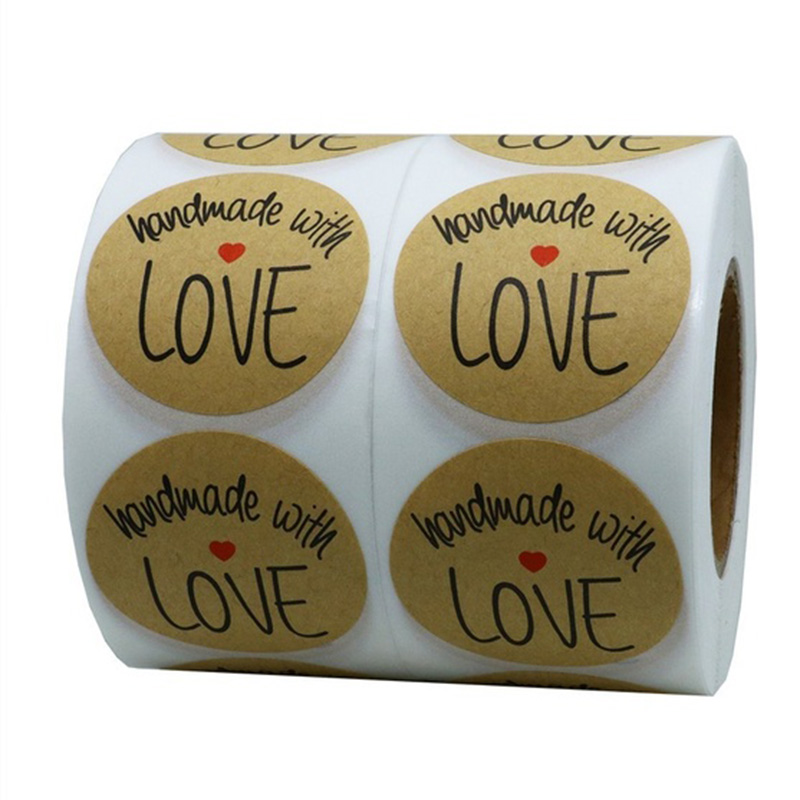 1 Inch Round Natural Kraft Handmade With Love Stickers With Black Font Total 500 Adhesive Labels Per Roll (1 Roll)