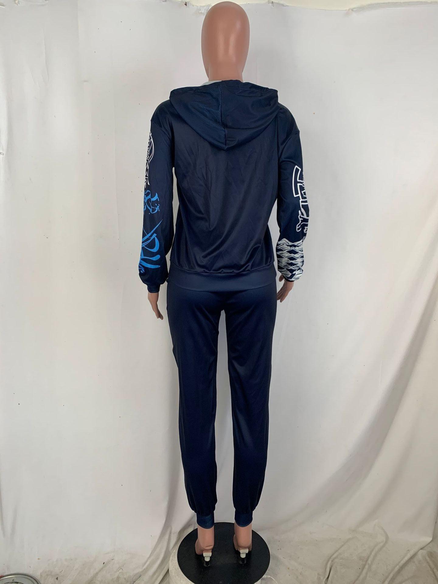 Sweat /à Capuche et Pantalon de Jogging Japonais Unisexe Streetwear Senpai Ensemble de Deux pi/èces