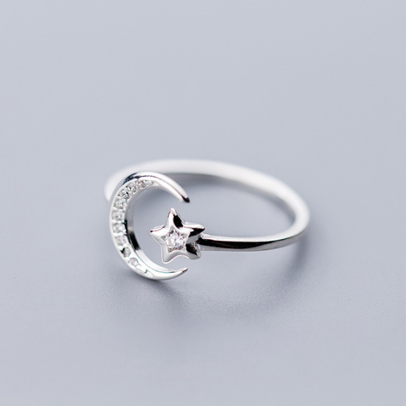 Real 925 Sterling Silver Minimalist Zircon Moon Star Opening Ring For Charming Women Party Fine Jewelry Cute 2019 Gift(China)