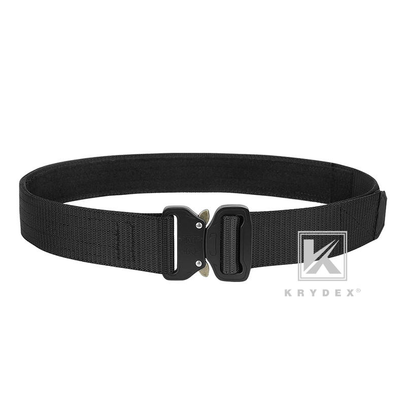 "KRYDEX 1.5"" Rigger's Duty Belt Tactics Hook &Loop Quick Release Hunting Shooting Stiffened 2-Ply Nylon Webbing Metal Buckle Belt"