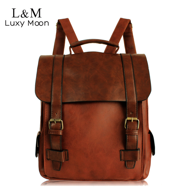 Fashion Women Backpack PU Leather School Bag Vintage Large Schoolbag For Teenage Girls Brown Black Backpacks Men Rucksack XA30H