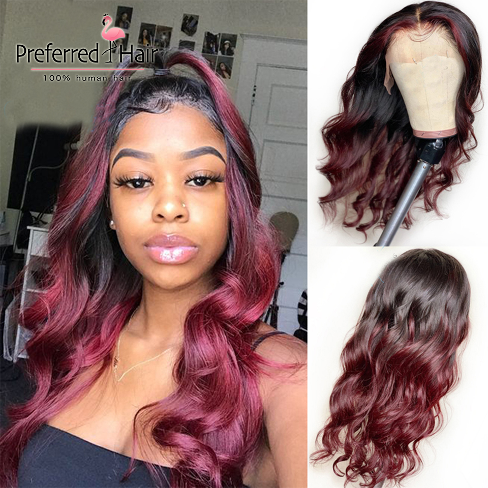 Preferred Highlight Burgundy 13X6 Lace Front Wig Brazilian Remy Orange Ombre Human Hair Wig PrePlucked Full Lace Human Hair Wigs