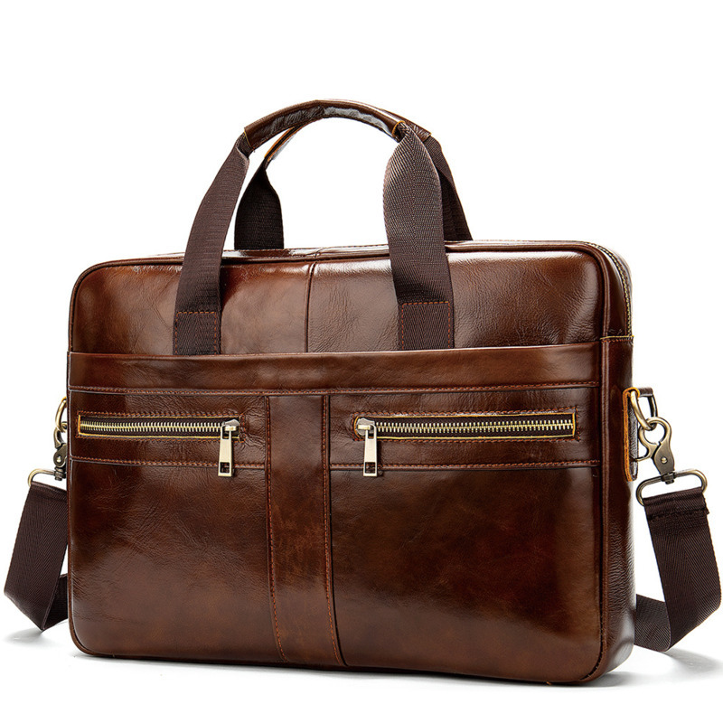 New Briefcase Male Genuine Leather Man Laptop Bag Mens Leather Bag Buseness Leather For Men Messenger Bags Crossbody Maleta