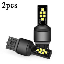 цена на 2x T20 7440 W21W White LED 12SMD 3030 Car Brake Reverse Parking Tail Light Bulbs