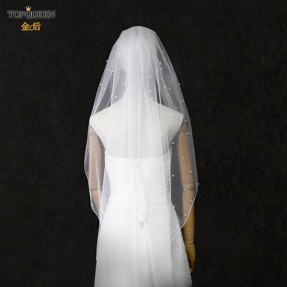 TOPQUEEN V06 Pearls Hair accessories 90cm White Ivory Tulle Veil with Comb Hemmed Wedding Veil for Women 2020 New Arrival