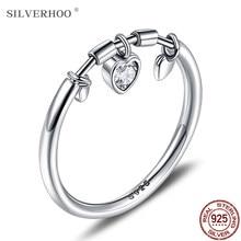 Silverhoo 925 prata esterlina anel feminino 3 forma do coração 5a zircônia cúbica anéis para mulheres marca de casamento jóias de prata fina nova