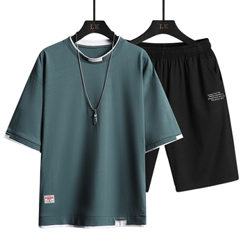 2021 Summer Men Casual Sports Sets Round Neck T-shirt Shorts Solid Color 2 Piece Suit Fashion Sports Breathable Mens Clothes 4