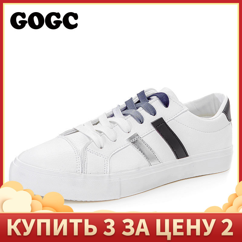 GOGC White Sneakers Shoes Krasovki Woman Canvas Women Slipony G783 title=