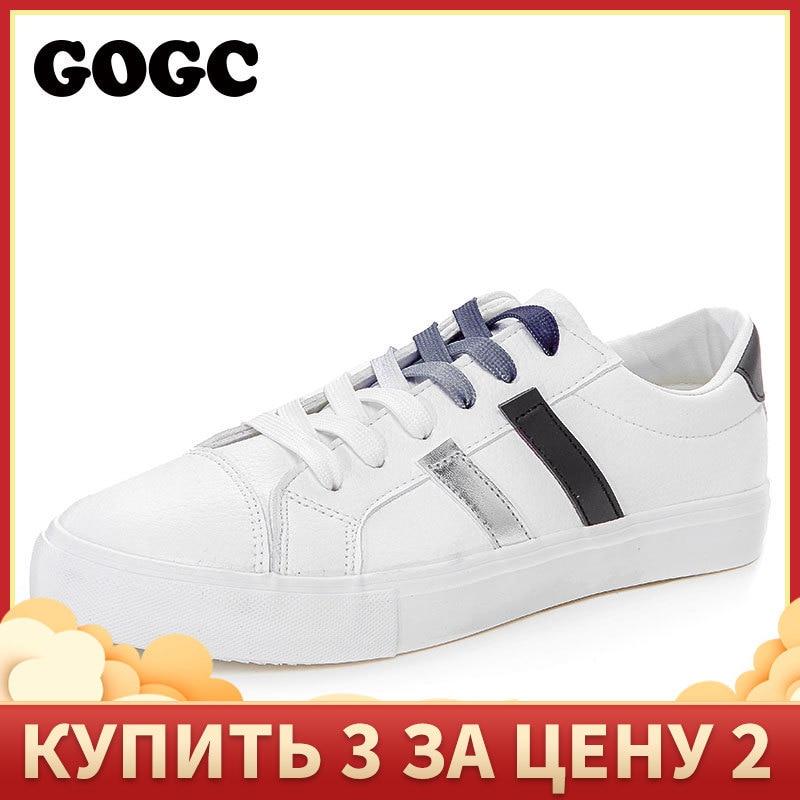 GOGC Women Sneakers Flat Shoes Women Running Shoes White Sneakers Women Shoelaces Shoes Slipony Krasovki Woman Canvas Shoes G783