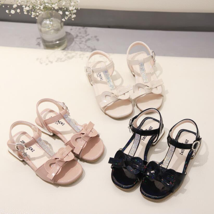 New Spring Summer Children Casual Shoes Girls Sandals Sequins Bowtie Princess Leather Shoes Girls Shoes Dance Performance Shoes