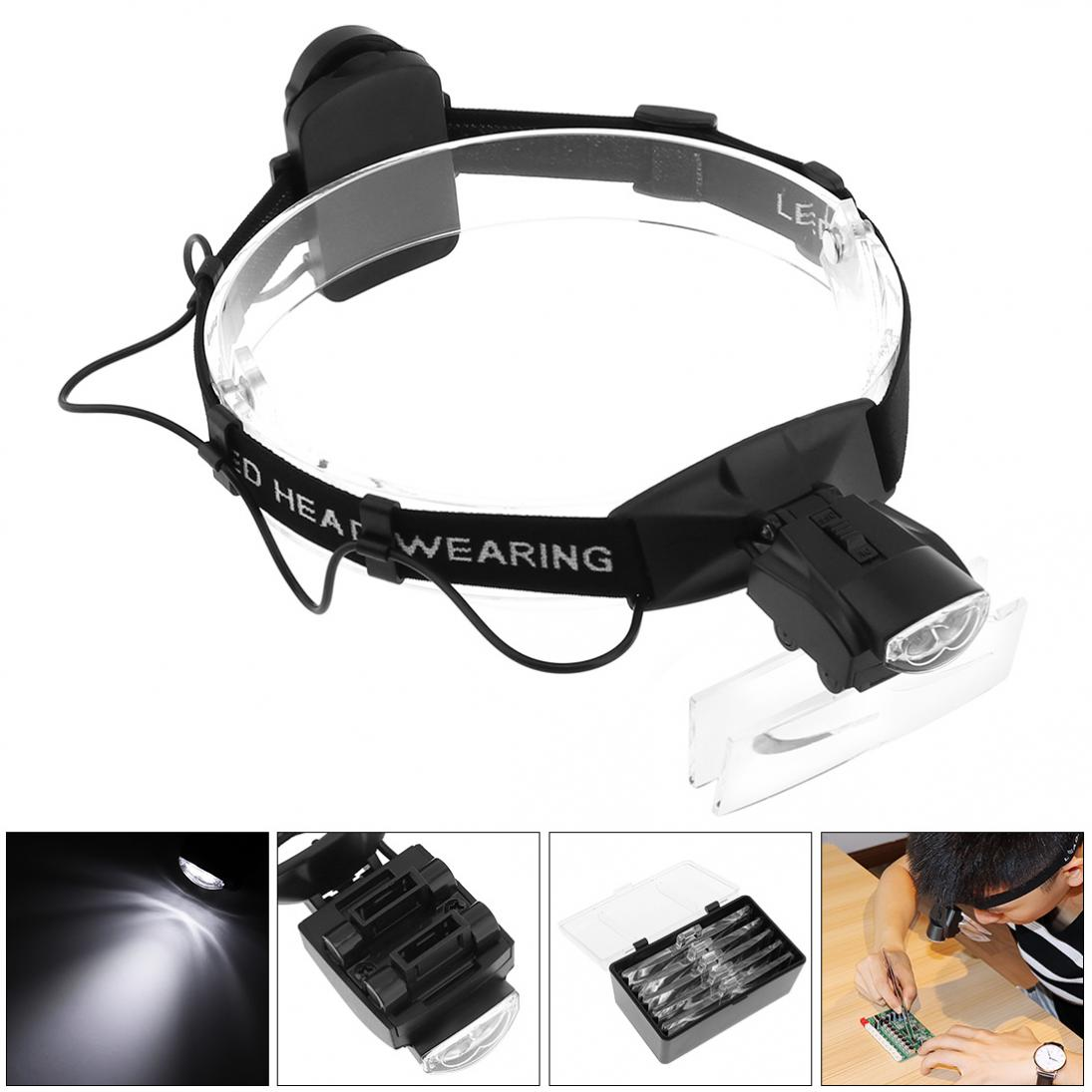 Cabeça lupa 1.0x1.5x2.0x2.5x3.5x5 óculos ajustáveis lupa lente óptica bandana lupa olho reparação lupa