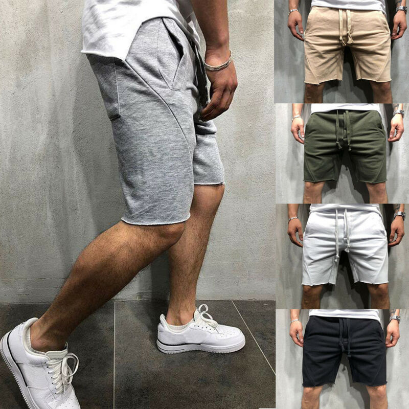 2019 Men Casual Shorts Male Summer Beach Drawstring Comfort Sports Gym Solid Color Loose Shorts Plus Size