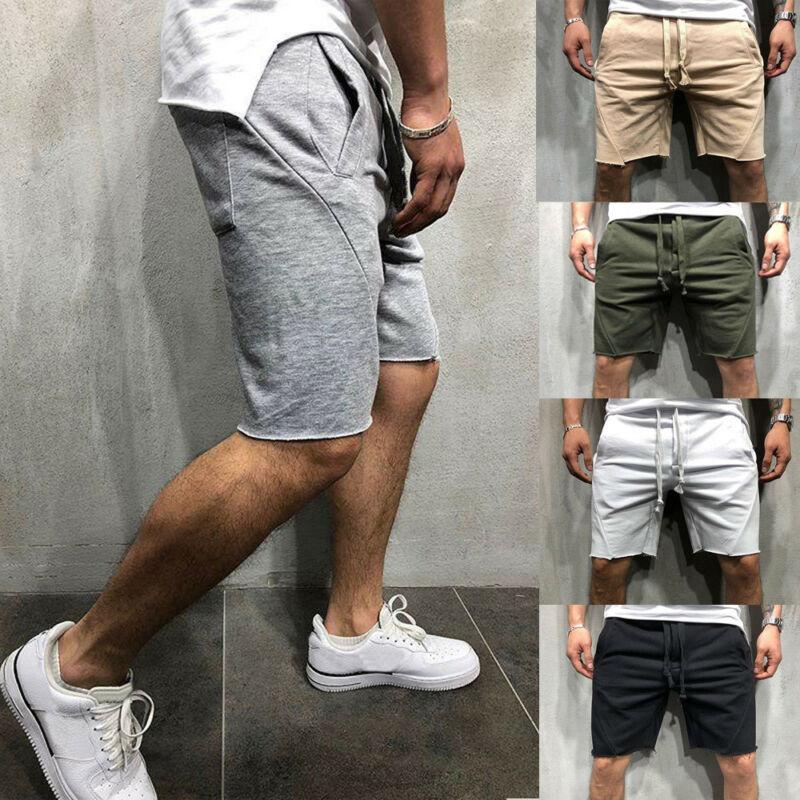 Мужские повседневные шорты 2019, мужские летние свободные однотонные шорты для спортзала