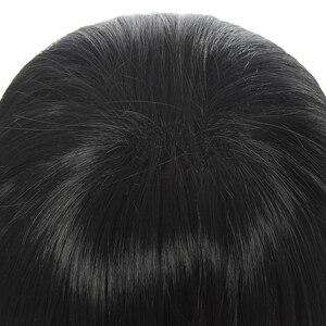Image 4 - L email wig Demon Slayer Iguro Obanai Cosplay Wigs Kimetsu no Yaiba Black Short Halloween Cosplay Wig Synthetic Hair Perucas