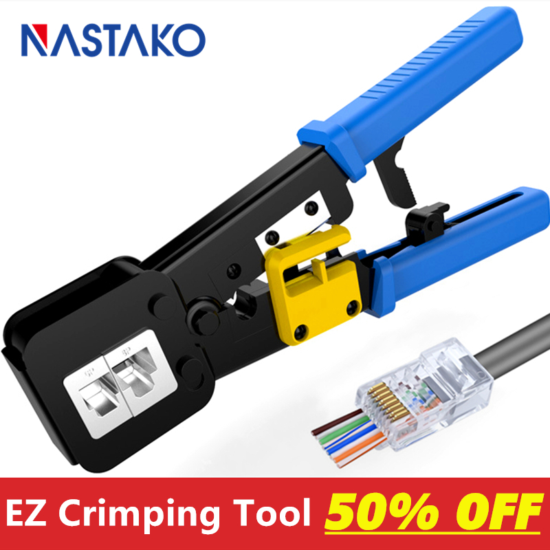 Ez Rj45 Crimper RJ45 Crimping Tool Hand Network Tool Kit For Cat6 Cat5 Cat5e Rj45 Rj11 Connector 8P 6P Lan Cable Wires Pliers