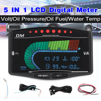 5 In 1 12V/24V Universal Truck Car LCD Digital Oil Pressure Gauge Volt Voltmeter Water Temperature Fuel Gauge Tachometer
