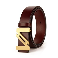 2019 luxury brand designer leather men's leather belt parallel buckle belt copper buckle V belt Christmas day gift