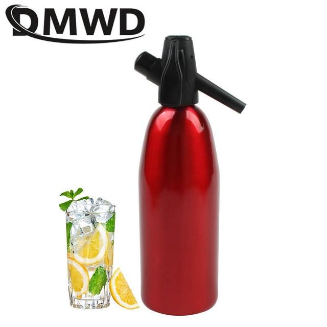 Dmwd manual 1l fabricante de soda co2 dispensador bolha água gerador bebida fresca cocktail máquina soda barra alumínio diy dispensador água
