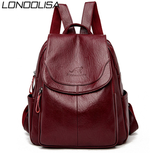 Image 1 - Женский кожаный рюкзак, дизайнерские сумки через плечо для женщин 2020, школьные сумки для девочек подростков, Mochila Feminina