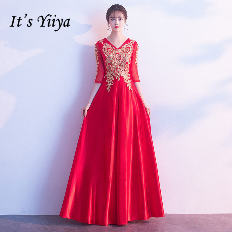 Evening Dresses Red It's Yiiya R277 Embroidery Lace V-neck Evening Dress Elegant Half Sleeve A Line Formal Gowns For Women