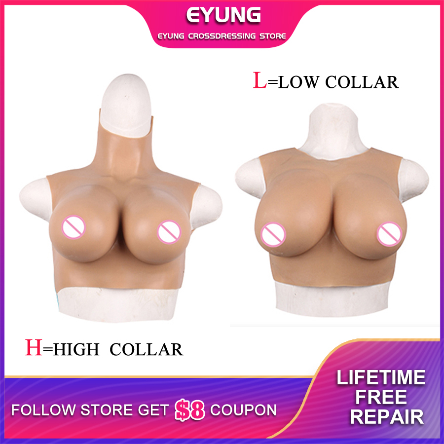 Eyung Silicone Breast Forms Realistic Fake Boobs Tits Enhancer Crossdresser Drag Queen Shemale Transgender Cotton Filler CDF Cup
