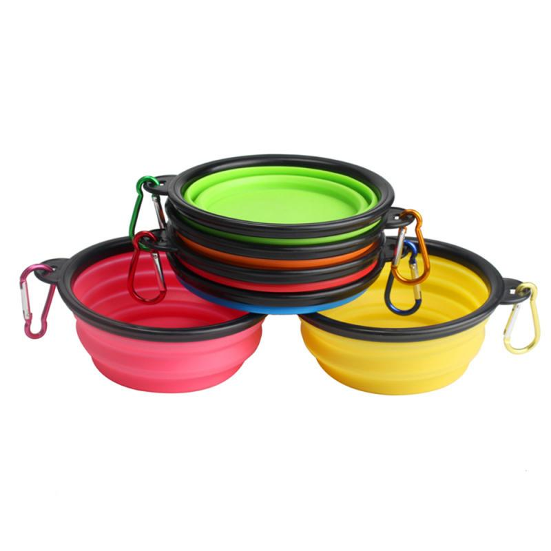 Aollapsible Pet Silicone Bowl Portable Outdoor Camping Travel Folding Dog Bowl Water Bowl Kettle Pet Dog Food Bowl