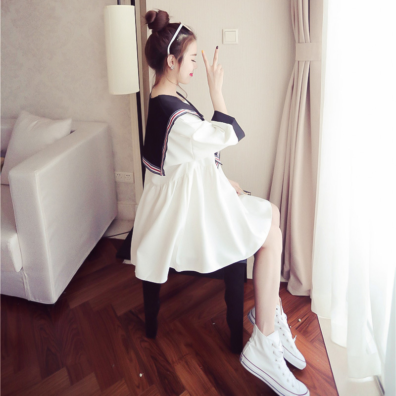Spring And Summer Korean-style Grs Qun Student's Dress Love Summer Day Of Doll Wind South Korea-Children Military Style Big Heml