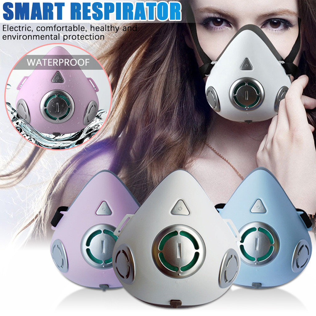 Smart Electric Anti-Fog Face Mask Air Purification Respirator Automatic Fresh Air Mouth Masks With 20pcs Replaceable Filters