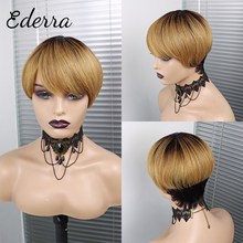 Pixie Short Cut  Wig with Bangs Brazilian Straight Wigs 100% Human Hair Wig for Black Women Blonde Color Non Lace Wigs