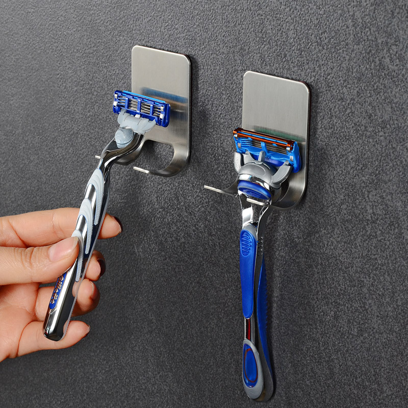 Men Shaving Shaver Shelf Stainless Steel Razor Holder Bathroom Wall Razor Rack Adhesive Razor Wall Hook Door Hanger