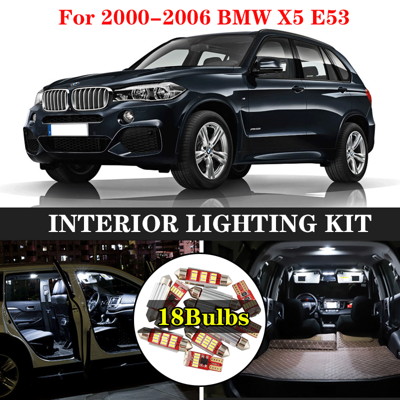 ZXCXZ 18Pcs Canbus No Error LED Lamp Car Bulbs Interior Package Kit For 2000-2006 BMW X5 <font><b>E53</b></font> Map Dome Trunk Door Glove Box Light image