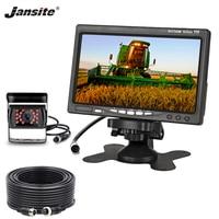 Jansite 7'' HD Car Monitor rear view camera Aviation head Waterproof 4 pin camera Excavator Harvester truck 12 24V Reverse iamge