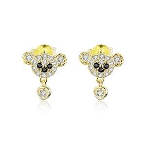 Image 5 - bamoer GXE785 925 Sterling Silver Exquisite Golden Bee Bear Star Cross Hoop Earrings Women Fine Jewelry Hypoallergenic Jewelry