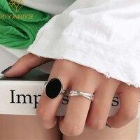 XIYANIKE de Plata de Ley 925 Plata geométrica negro Oval doble Zircon círculos cruzados anillo de mujer de moda creativa fiesta par hecho a mano